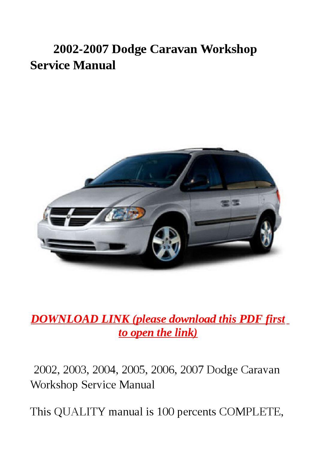 2002 2007 Dodge Caravan Workshop Service Manual By Sally
