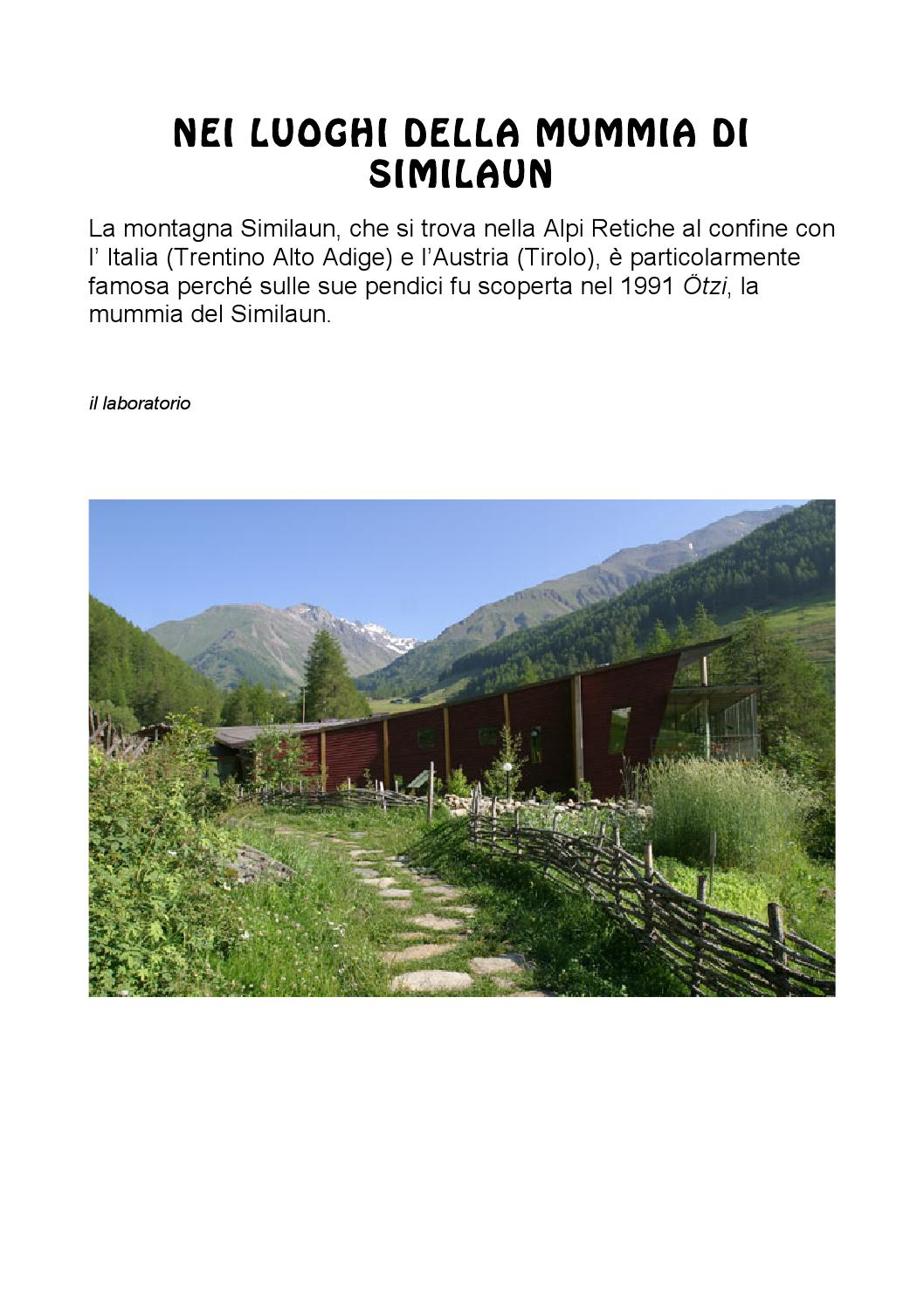 6 otzi luogi immagini by scuole brugine issuu for 1 1 2 piani di cottage storia