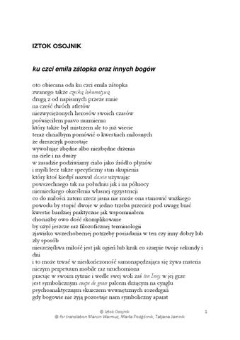 Iztok Osojnik Wiersze 2014 Tłum Marta Podgórnik Wybór