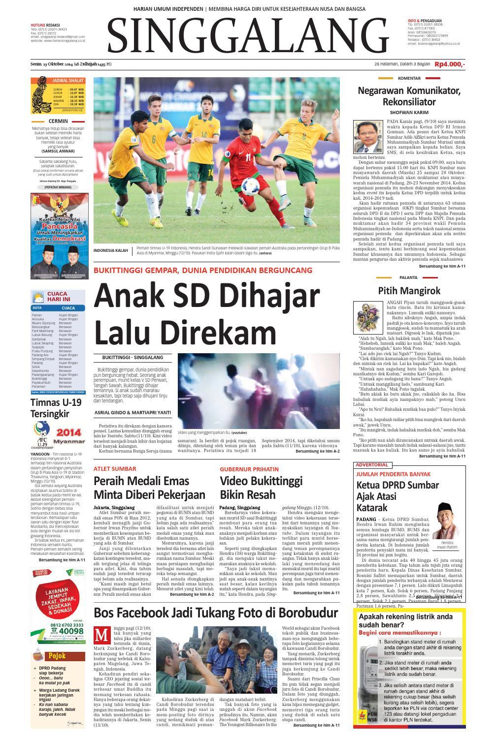 Harian Singgalang Senin 13 Oktober By Issuu Produk Ukm Bumn Tenun Pagatan Kemeja Pria Biru Kapal