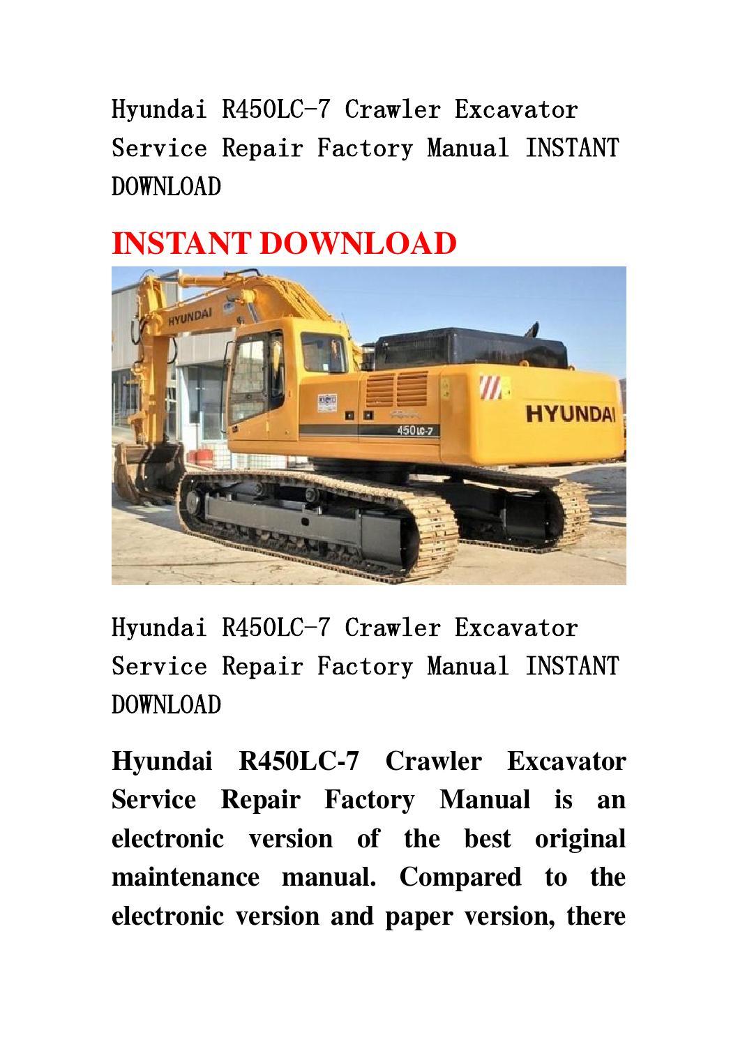 hyundai r450lc 7 crawler excavator service repair factory
