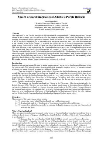 Speech Acts And Pragmatics Of Adichies Purple Hibiscus By Alexander