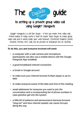 The DigiSkills Cymru Guide to Google Hangouts by DigiSkills Cymru