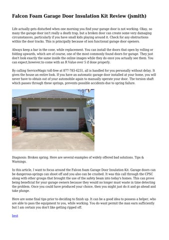 Falcon Foam Garage Door Insulation Kit Review Jsmith By