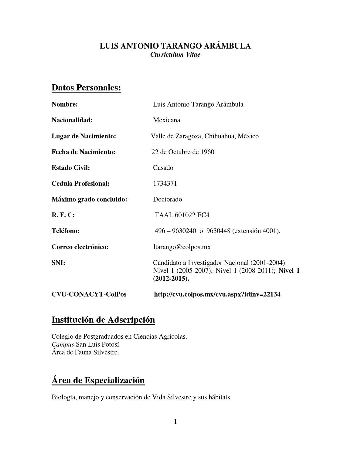 Curriculum vitae dr tarango libro digital by Luis - issuu