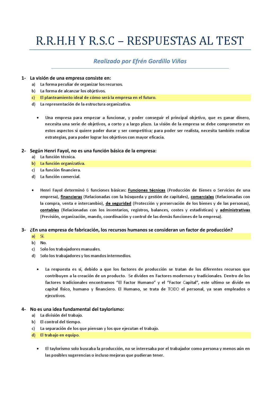 Respuestas Al Test Efrén Gordillo Viñas By Efren Gv Issuu