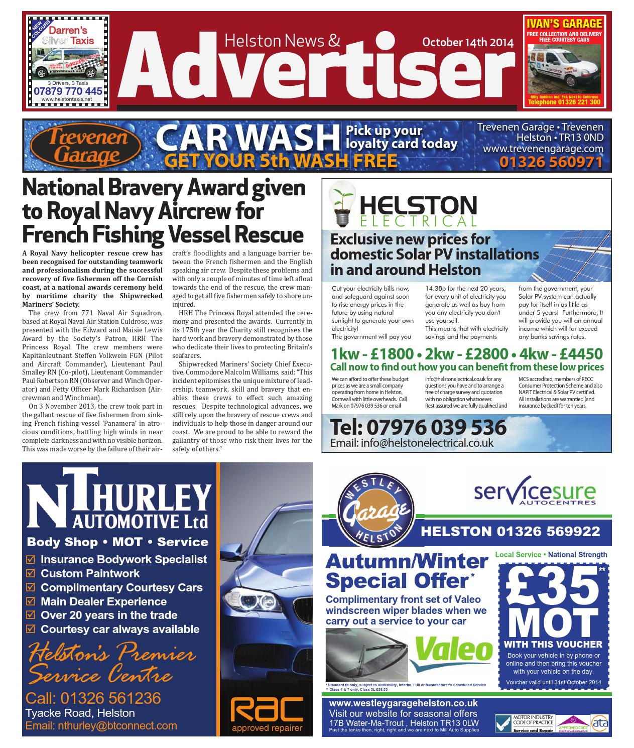 Helston News Advertiser October 14th 2014 By Trailer Plug Wiring Diagram Re Dual Batteries Car And Trailer4x Issuu