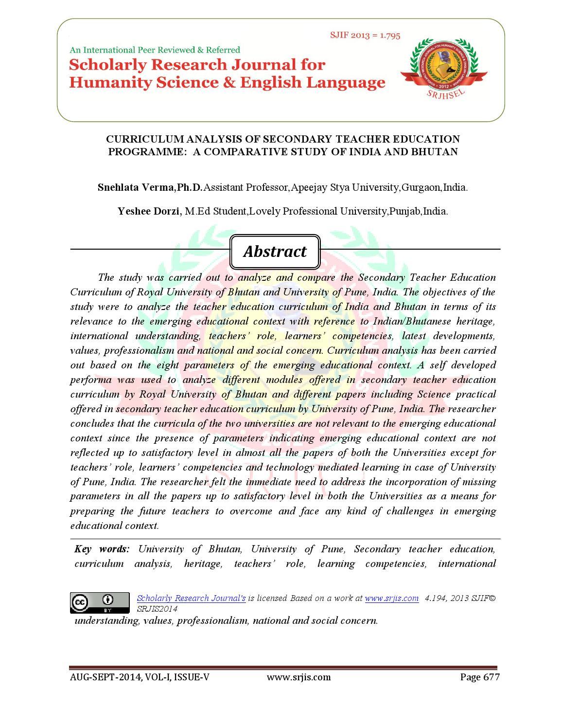 CURRICULUM ANALYSIS OF SECONDARY TEACHER EDUCATION PROGRAMME: A ...