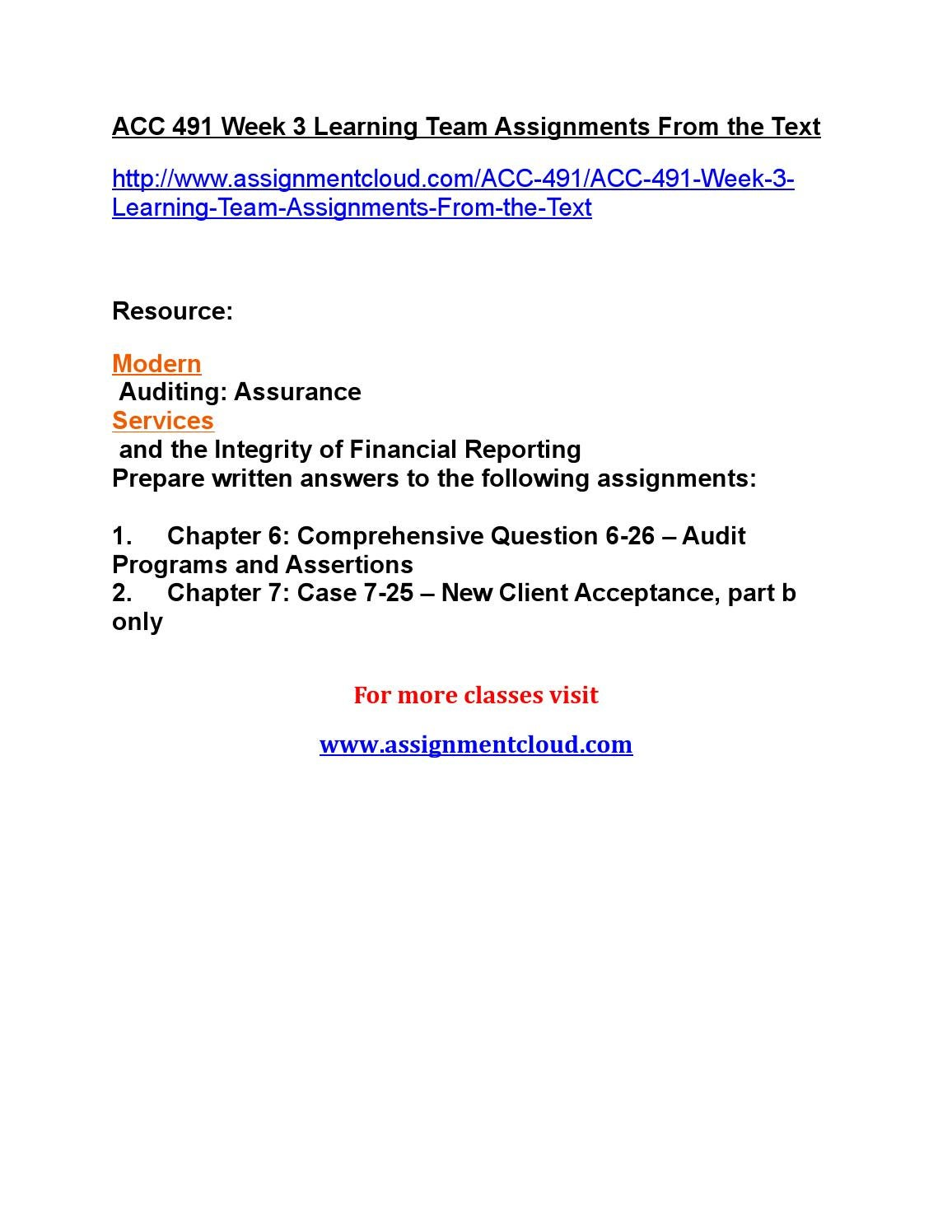 ACC 491 Week 4 Individual Study Guide Chapters 8, 10, and 11