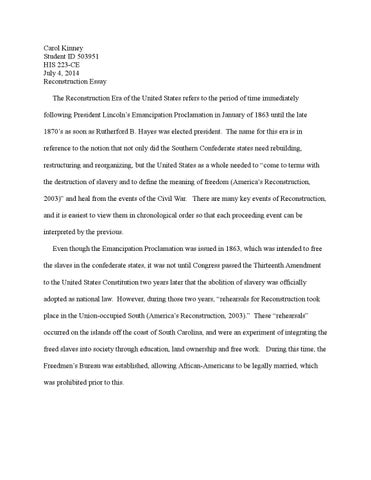 Personal Essay Thesis Statement Carol Kinney Student Id  His Ce July   Reconstruction Essay  The Reconstruction Era Of The United States Refers To The Period Of Time  Essay About High School also Essay About Healthy Lifestyle Kinneyc Reconstruction Essay Hisce By Carol Kinney  Issuu Thesis Generator For Essay