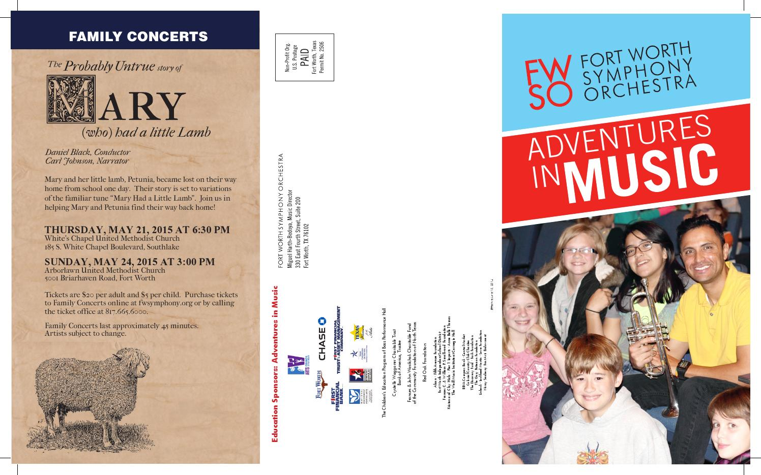 Fwso Adventures In Music 2014 2015 By Fort Worth Symphony Orchestra Issuu