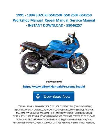 1991 1994 suzuki gsx250f gsx 250f gsx250 workshop manual repair rh issuu com Service ManualsOnline Owner's Manual
