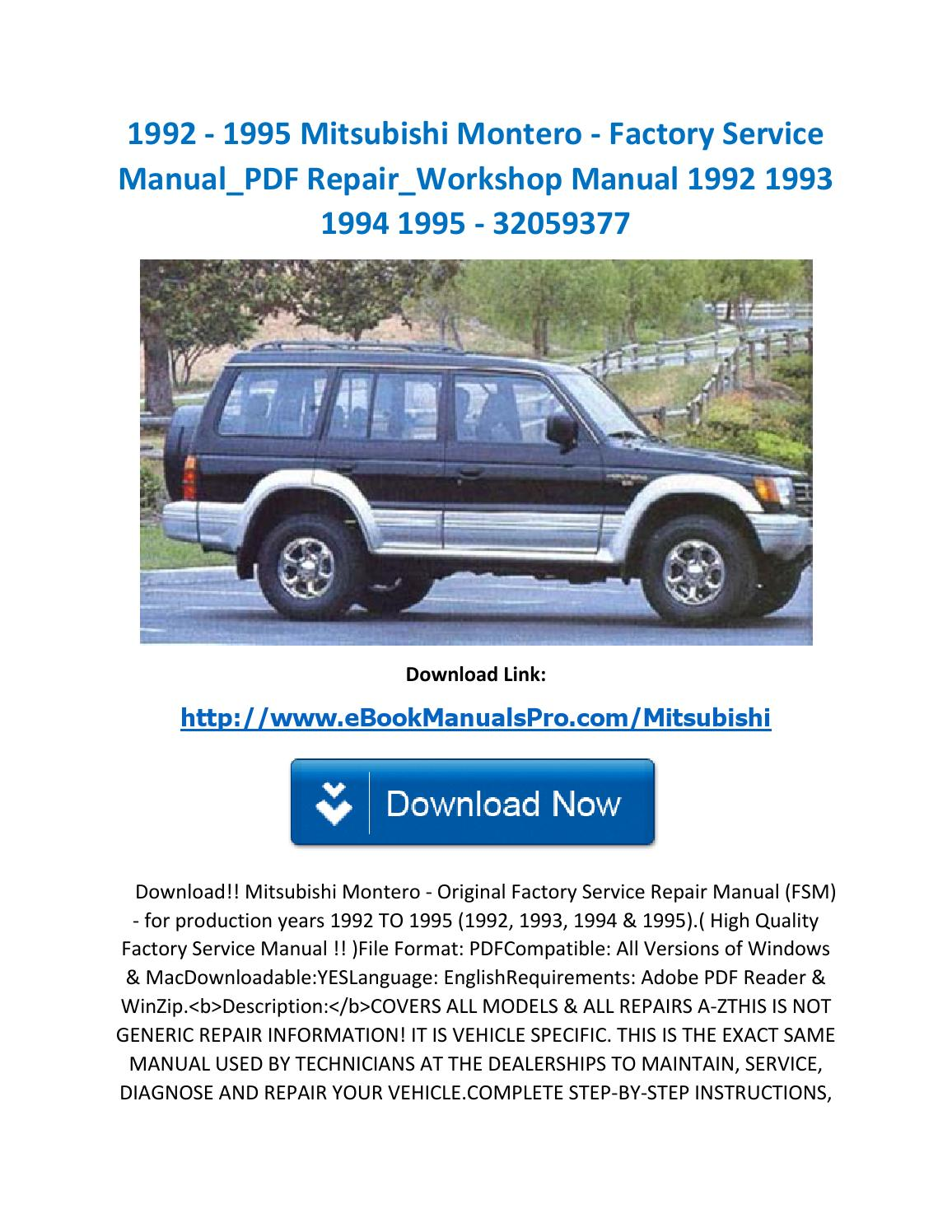 1992 1995 mitsubishi montero factory service manual pdf repair workshop  manual 1992 1993 1994 1995 3 by ebookmanualspro - issuu