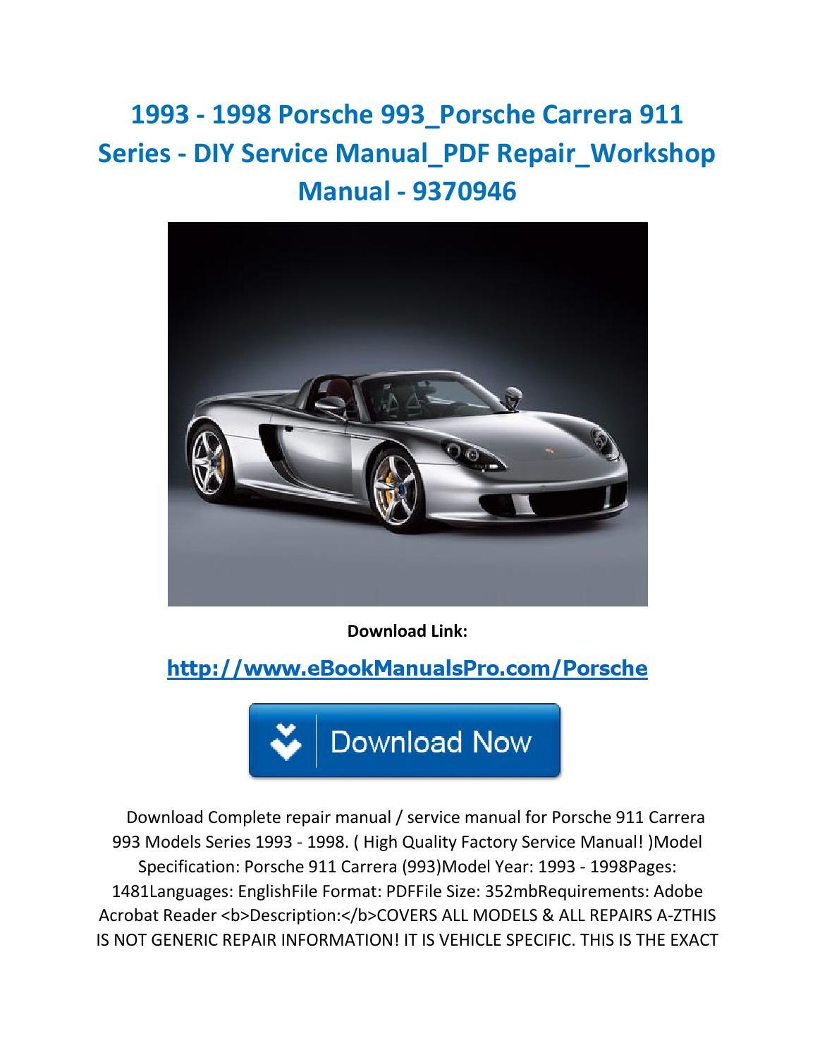 1993 1998 Porsche 993 Porsche Carrera 911 Series Diy