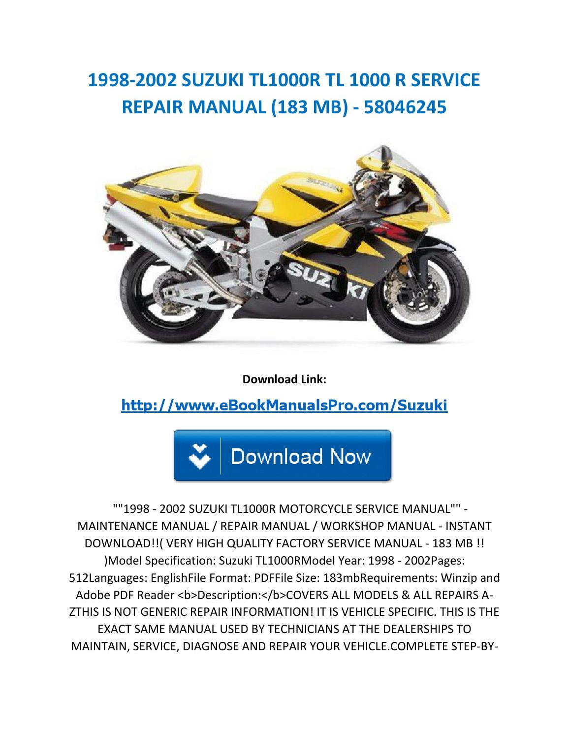 1998 2002 suzuki tl1000r tl 1000 r service repair manual (183 mb) 58046245  by ebookmanualspro - issuu