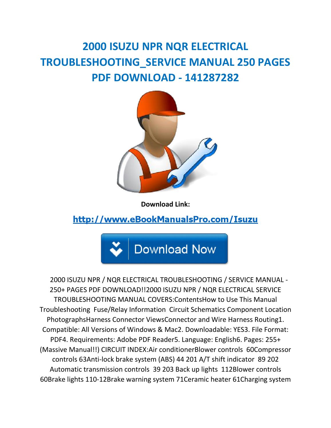 2000 Isuzu Npr Nqr Electrical Troubleshooting Service Manual 250 Pages Pdf Download 141287282 By