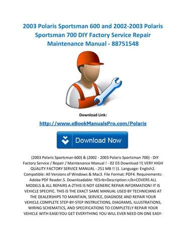 2003 polaris sportsman 600 and 2002-2003 polaris sportsman 700 diy factory  service repair maintenance manual - 88751548