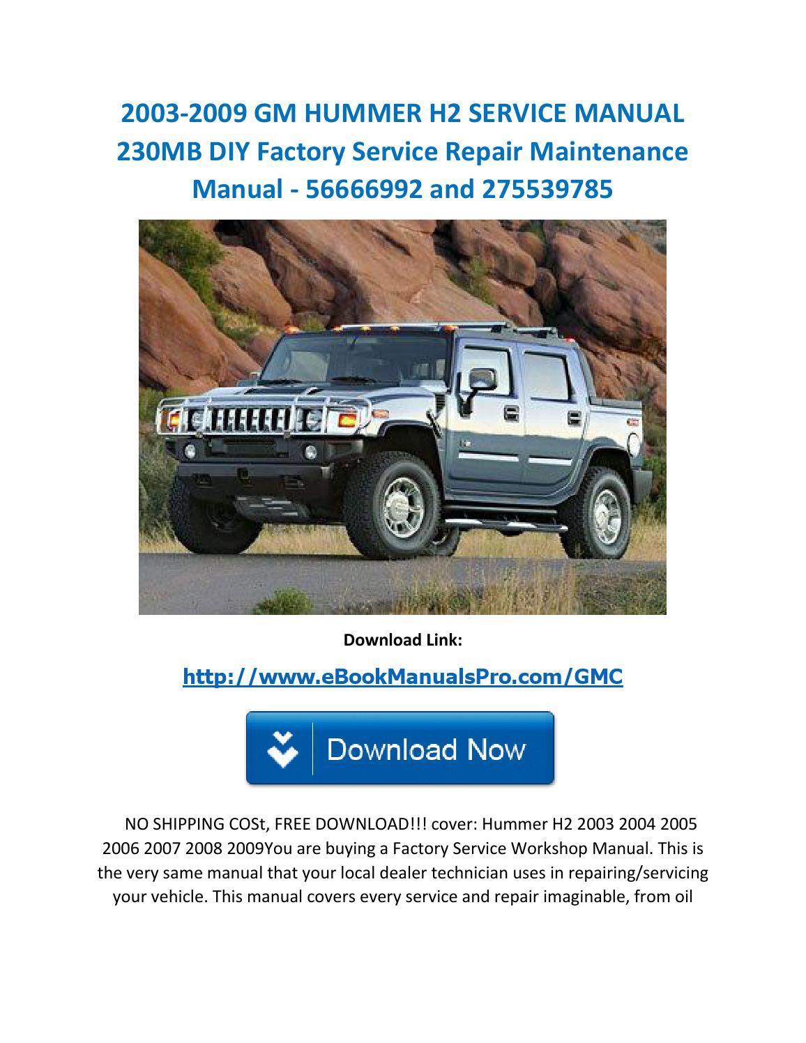 14 14 gm hummer h14 service manual 1430mb diy factory ...   hummer h2 repair manual
