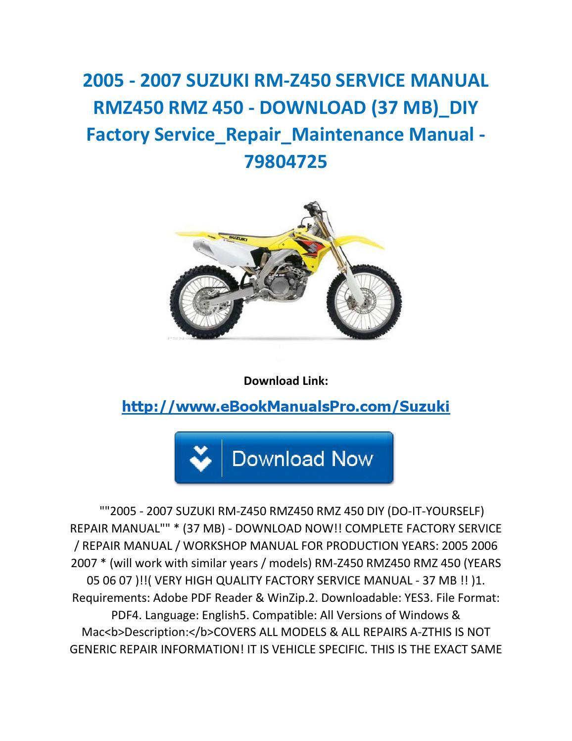 2005 2007 Suzuki Rm Z450 Service Manual Rmz450 Rmz 450