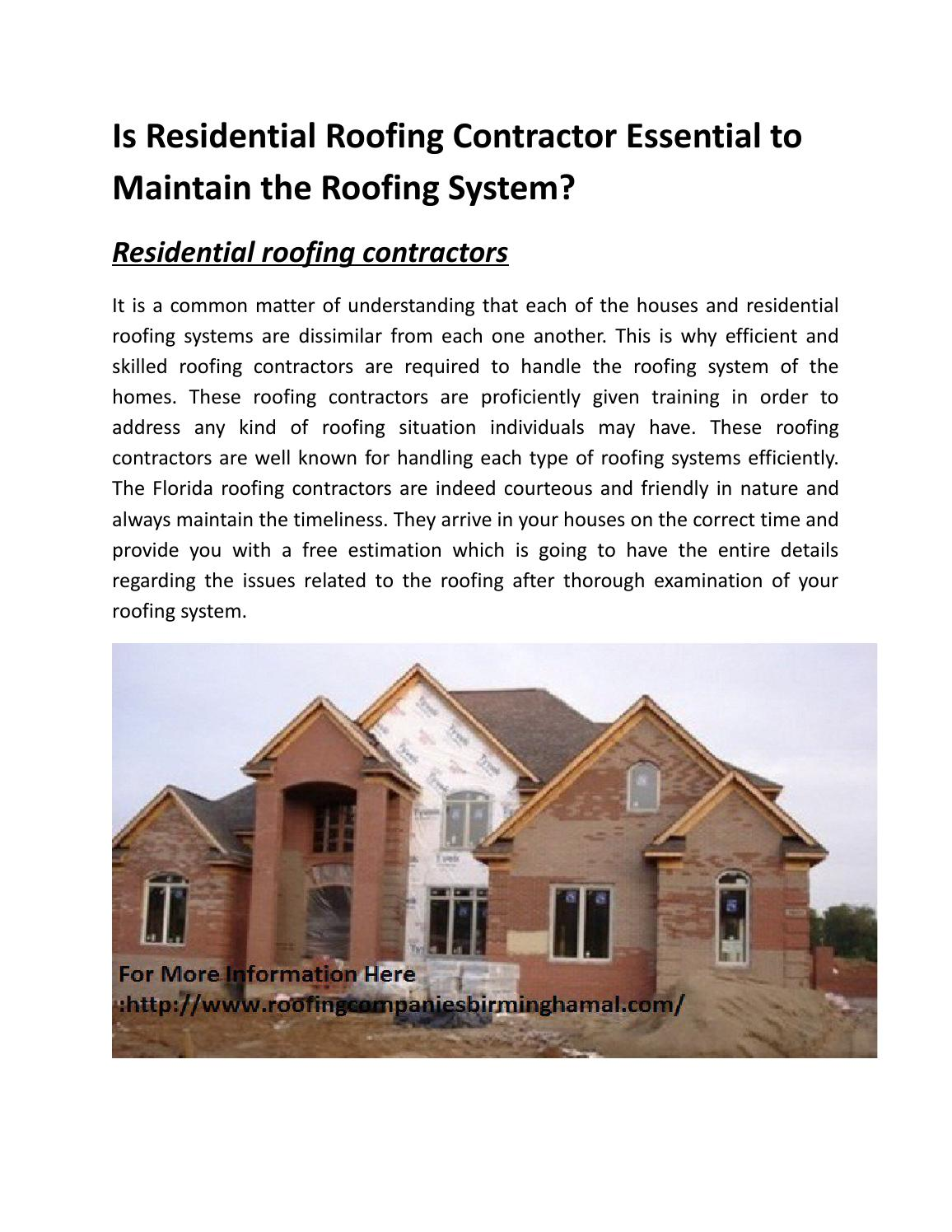 Examination of the roof - all the details