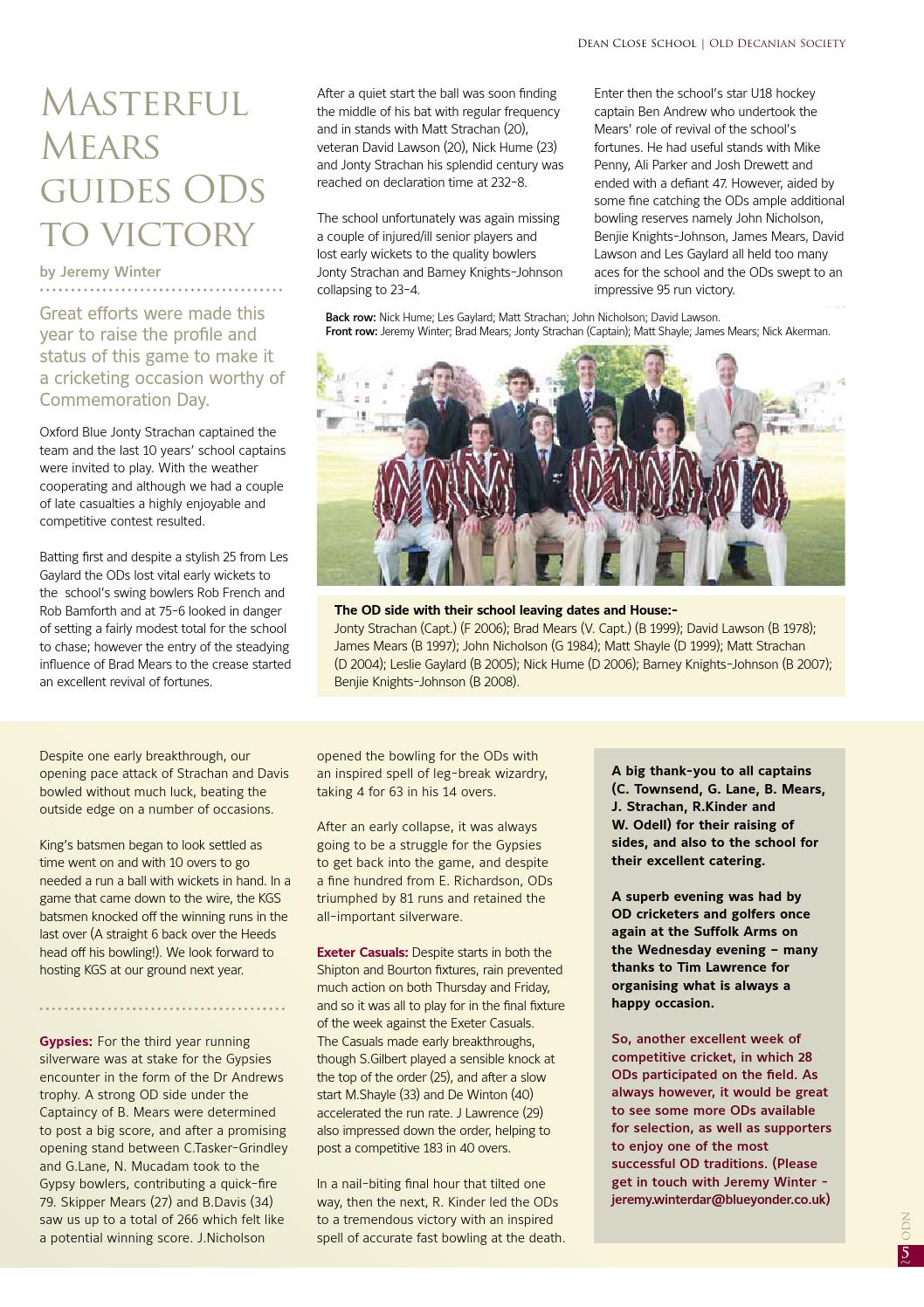 After Such Quiet Modest Start It Closes >> Old Decanian News Summer 2010 By Dean Close School Issuu