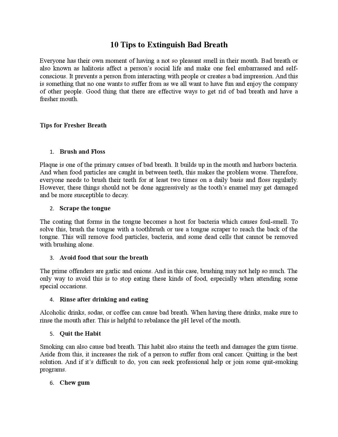 10 tips to extinguish bad breath by Jonathan McNeil - issuu