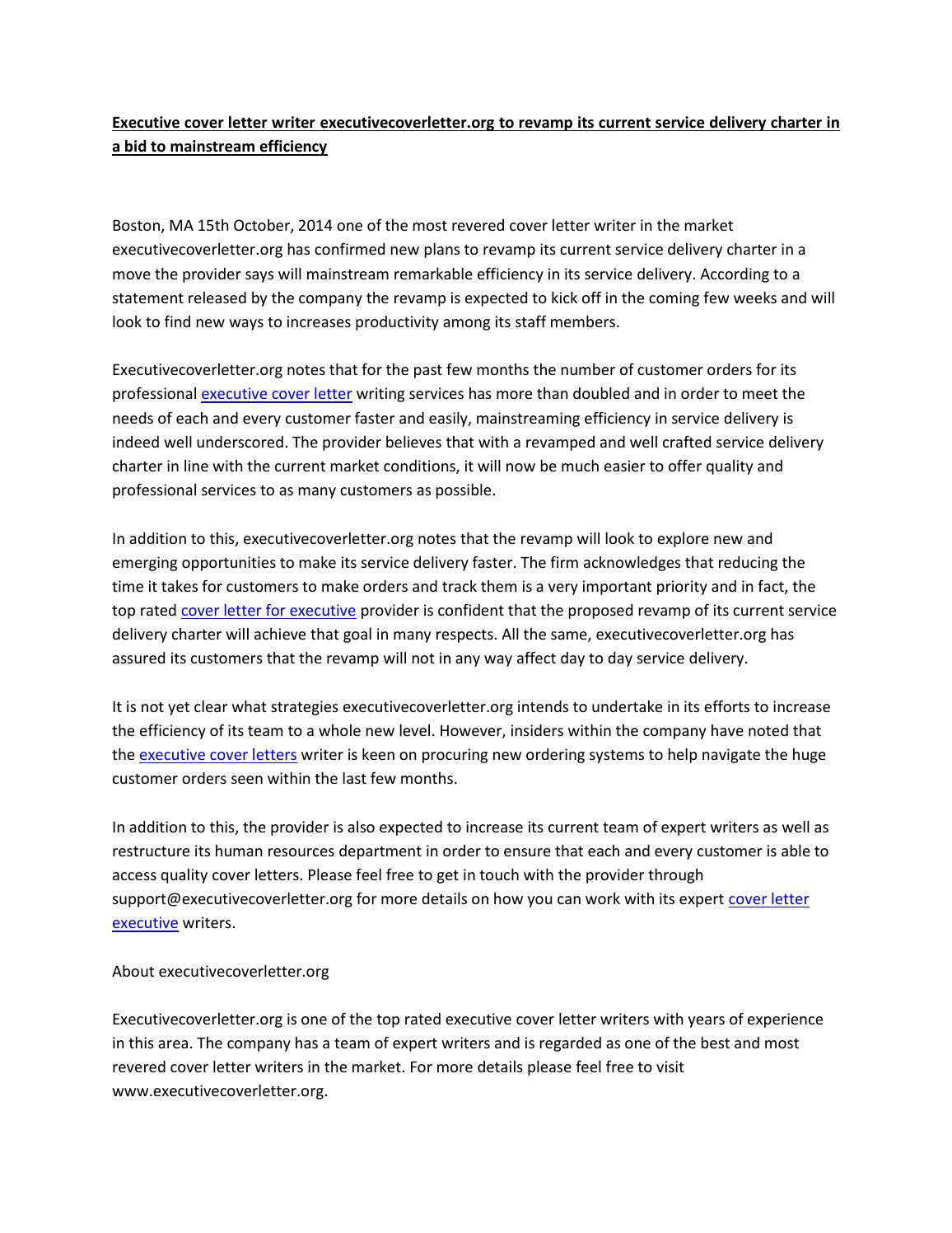 Executive cover letter writer executivecoverletter.org to revamp its ...