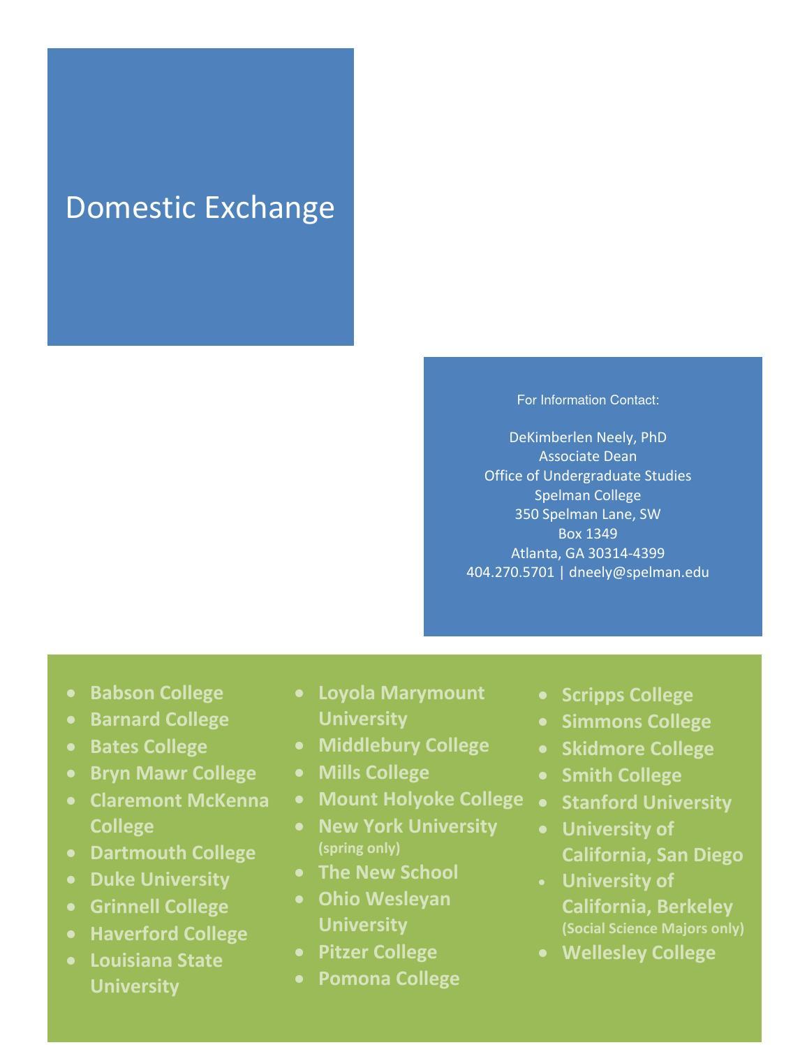 Spelman College Domestic Exchange Brochure by Spelman