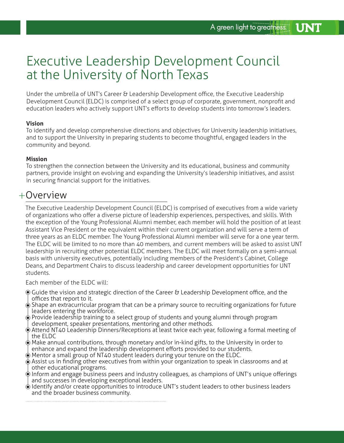 UNT Executive Leadership Development Council by UNT Executive ...