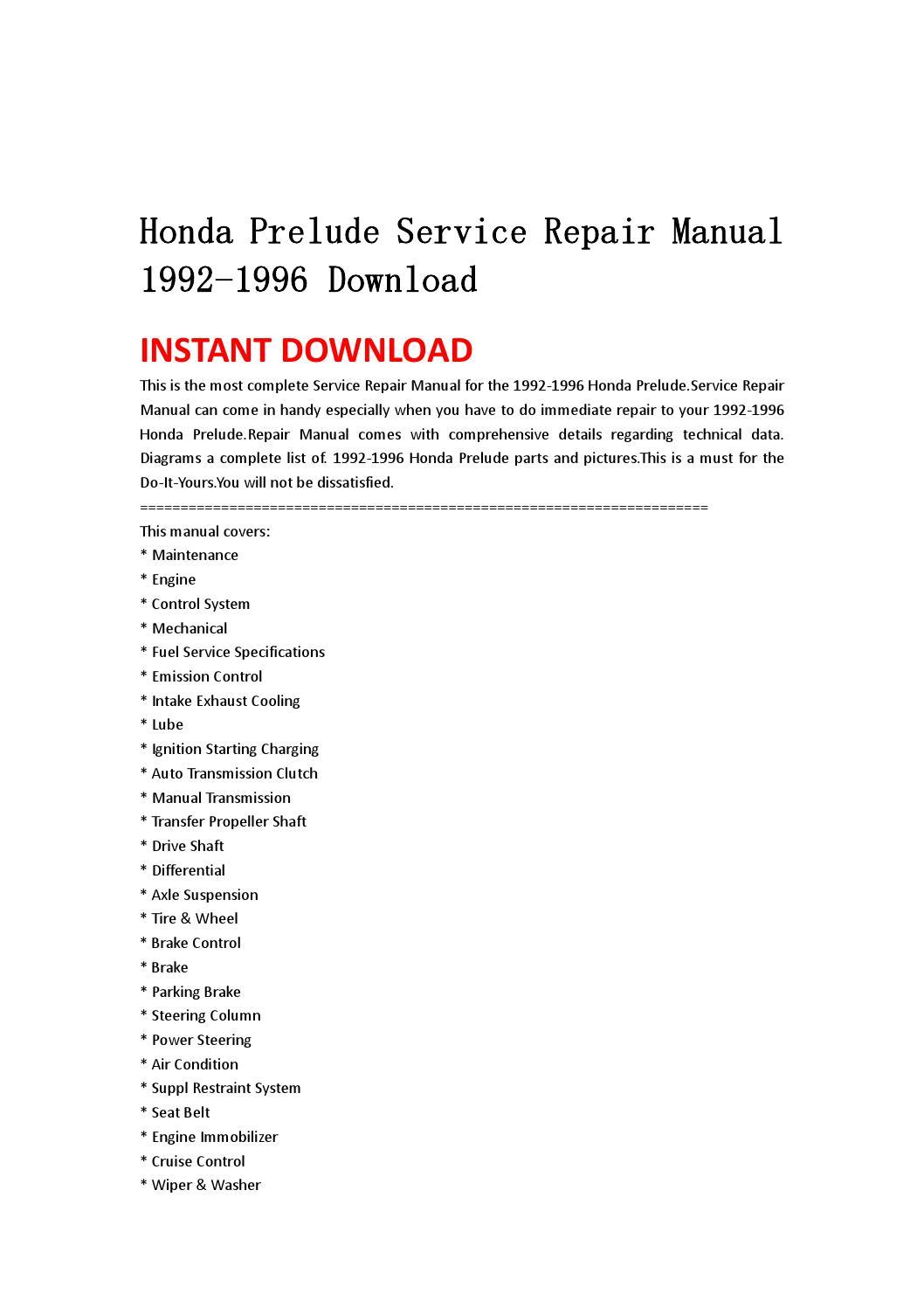 Honda Prelude Workshop manual PDF
