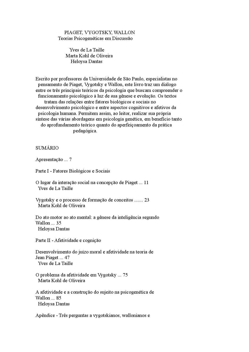 590f4a6a87d Piaget vygotsky wallon teorias psicogeneticas em discussao by Marcella  Martins - issuu