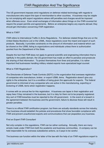 ITAR Registration And The Significance By Johnnyg66443 Issuu