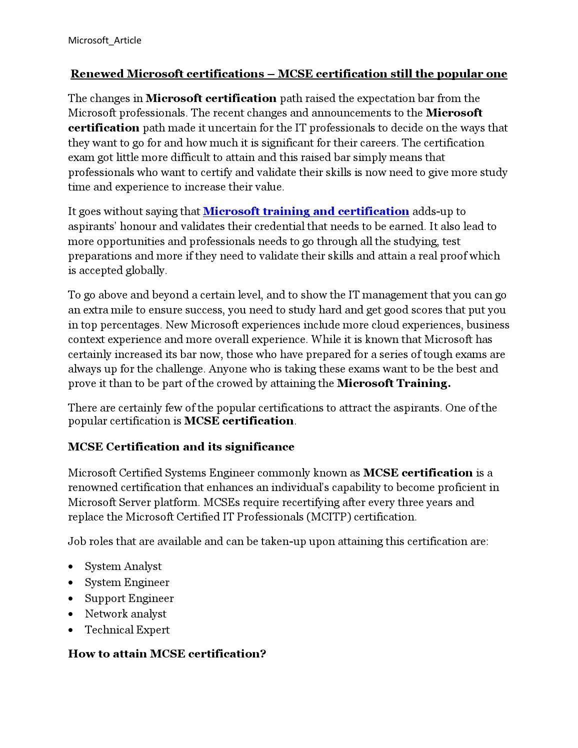 Microsoft certification pdf by ittraining issuu xflitez Gallery