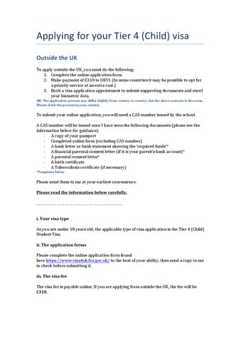 Visa guidance applying outside the uk (child) by fabio ...