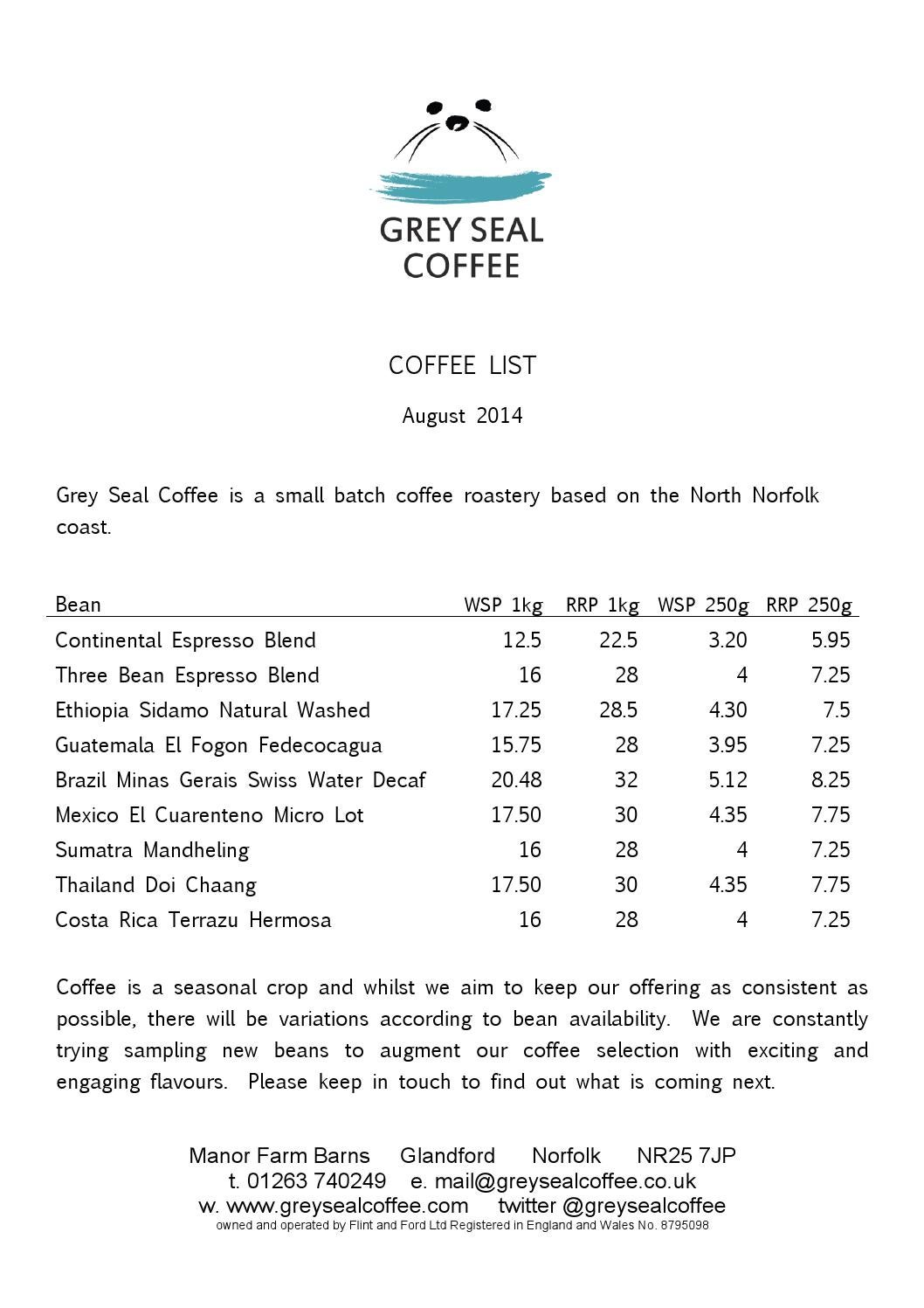 Wholesale Retail Price List August 14 By Grey Seal Coffee