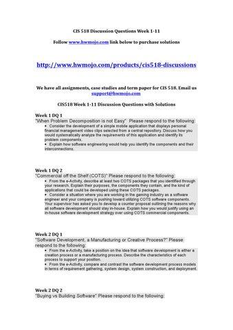 CIS 518 Week 8 Case Study 2