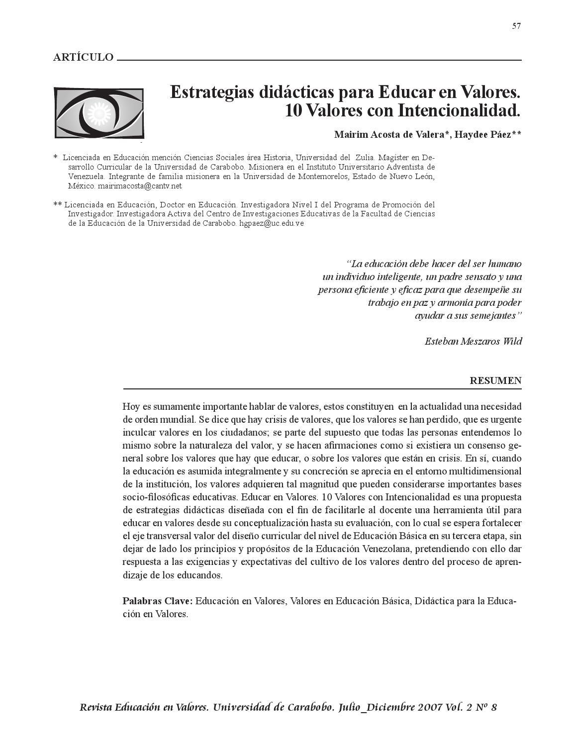 Estrategias didácticas para educar en valores by Silvia Mamani - issuu