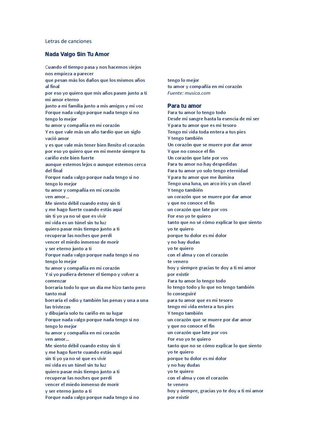 Letras De Canciones Ejercicios Para Movie Maker By Alexandra Del Pilar Cifuentes Valencia Issuu