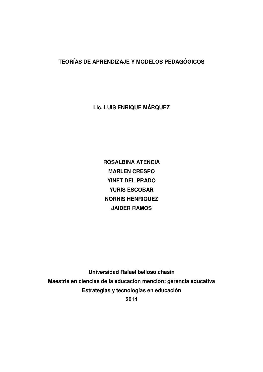Teorias y modelos pedagogicos by Rosalbina Atencia - issuu