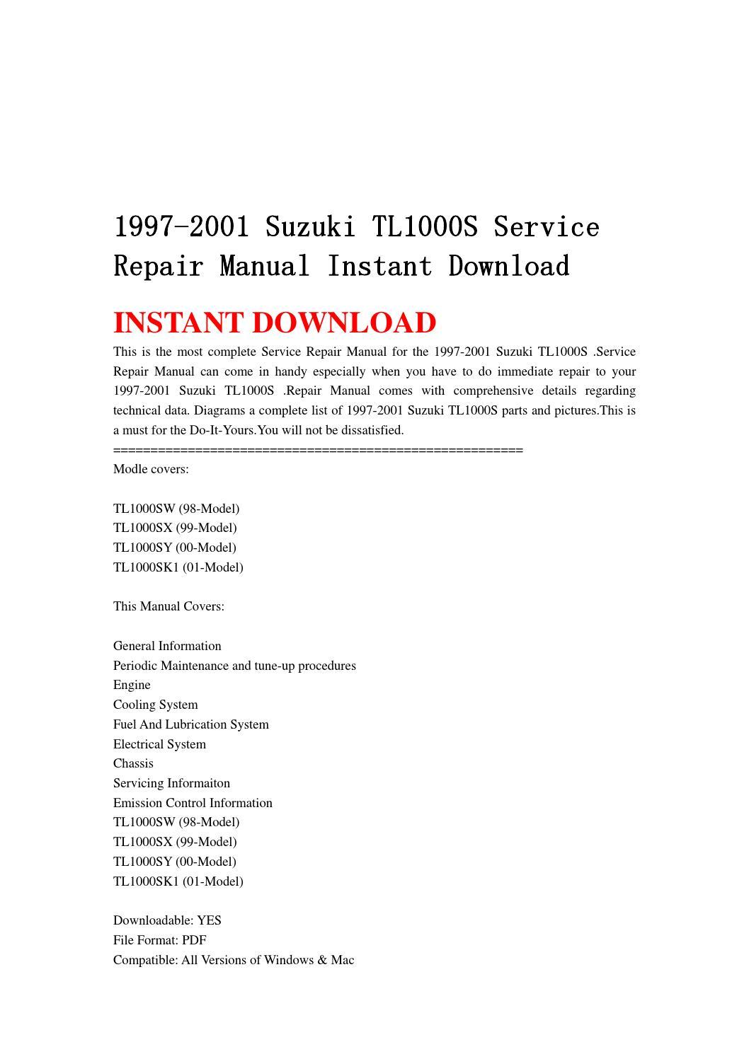 1997 2001 suzuki tl1000s service repair manual instant. Black Bedroom Furniture Sets. Home Design Ideas