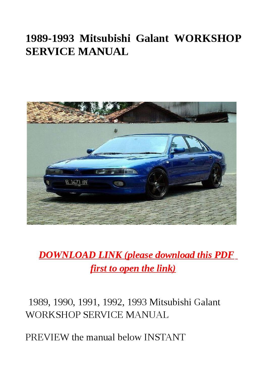 1989 1993 Mitsubishi Galant Workshop Service Manual By border=