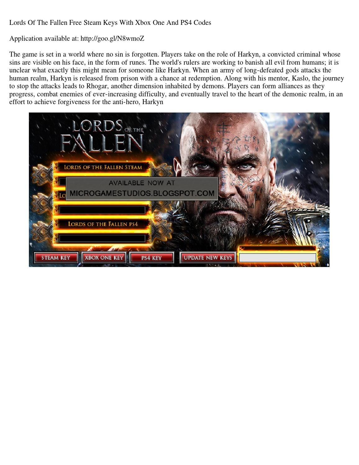 Lords of the fallen free steam keys with xbox one and ps4
