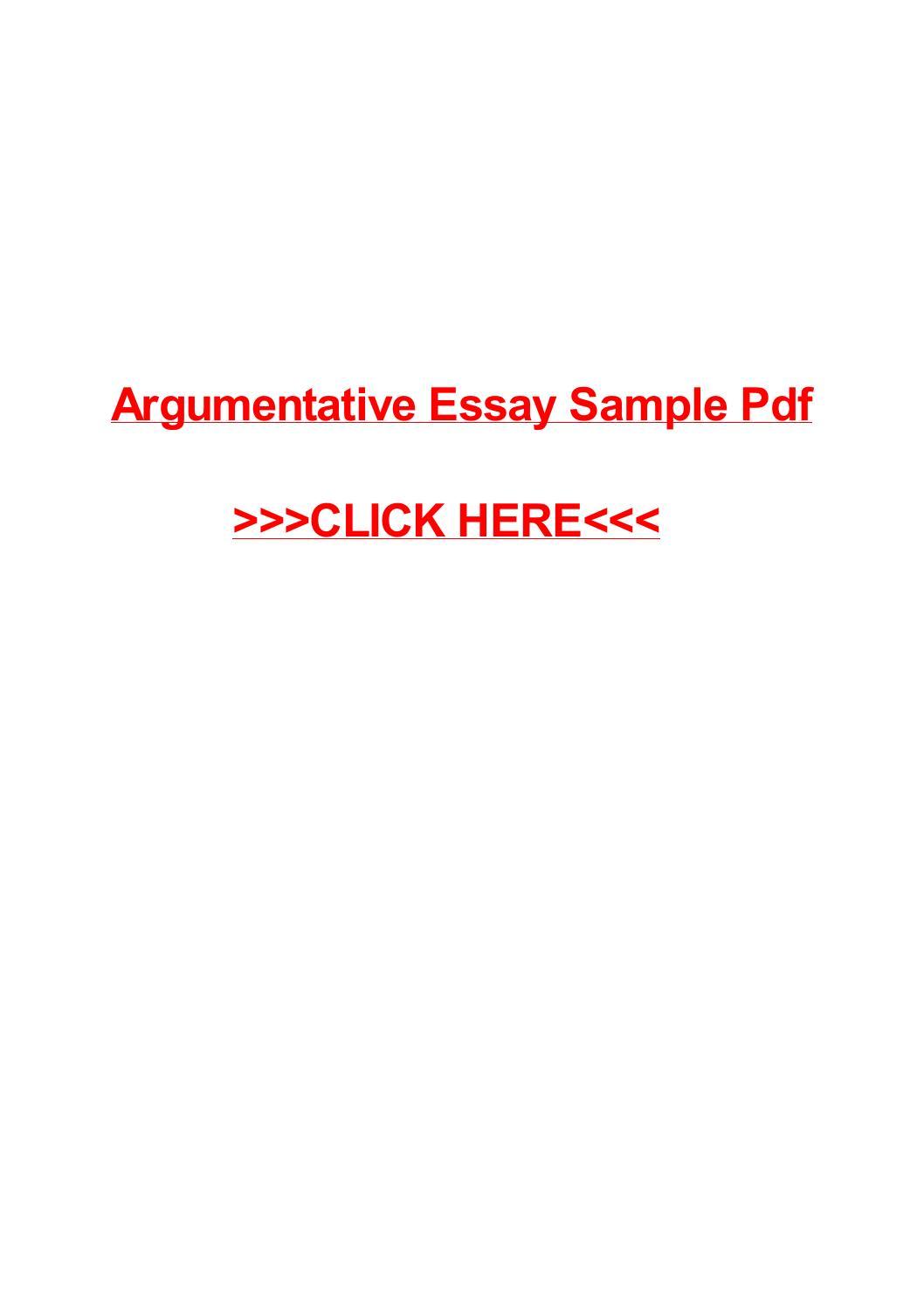 Argumentative Essay Sample Pdf By May Pilon