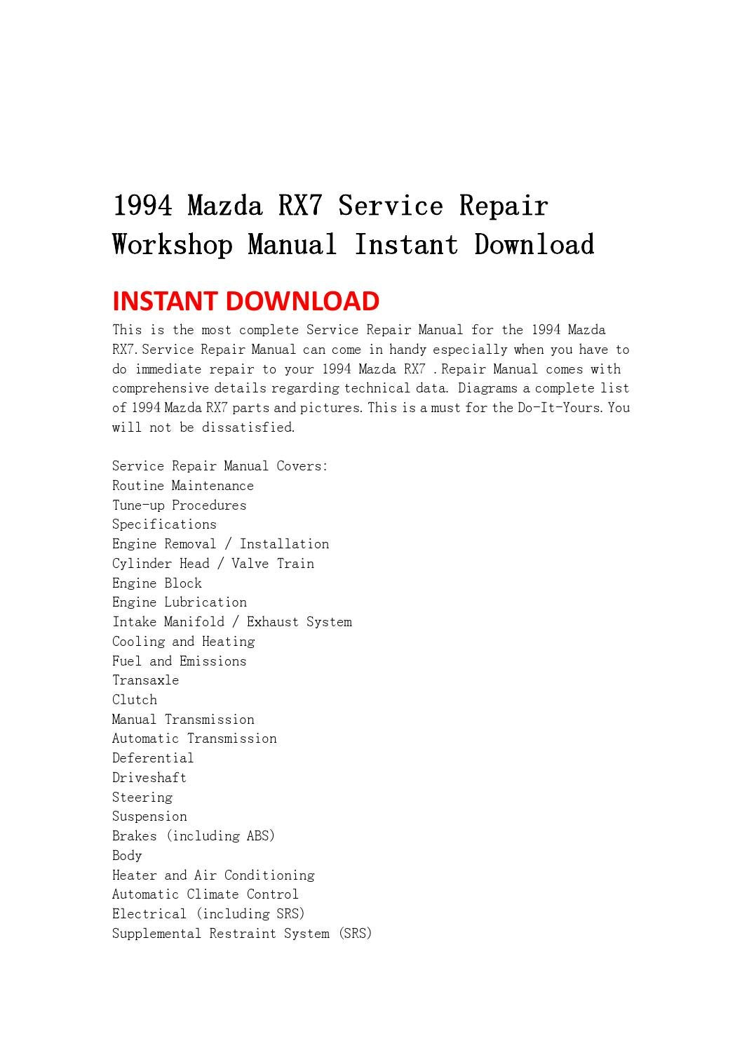 1994 Mazda Rx7 Service Repair Workshop Manual Instant Download By Shefjnsehf76