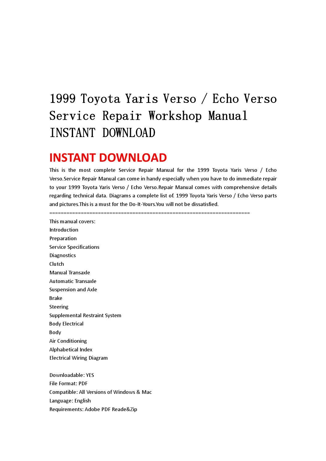 1999 2005 Toyota Yaris Verso Echo Verso Service Repair Manual Download   99 00 01 02 03 04 05