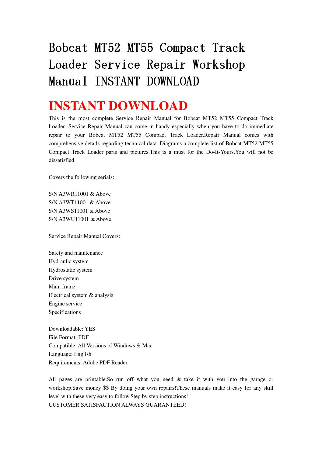 bobcat mt52 service manual pdf