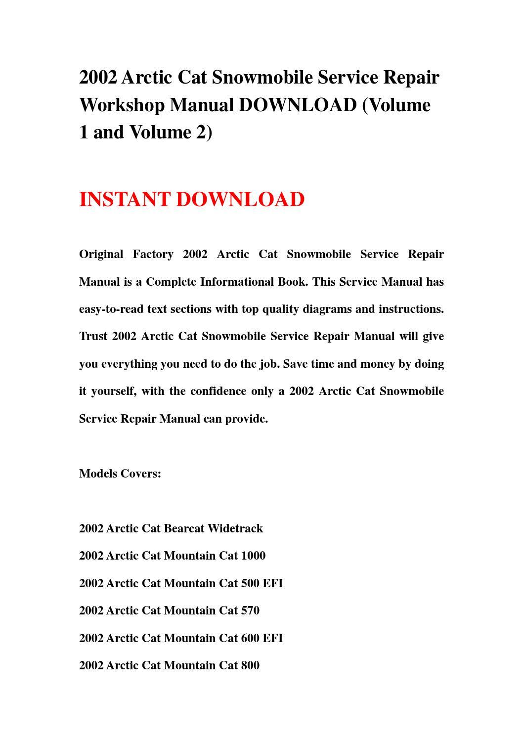 2002 Arctic Cat Snowmobile Service Repair Workshop Manual