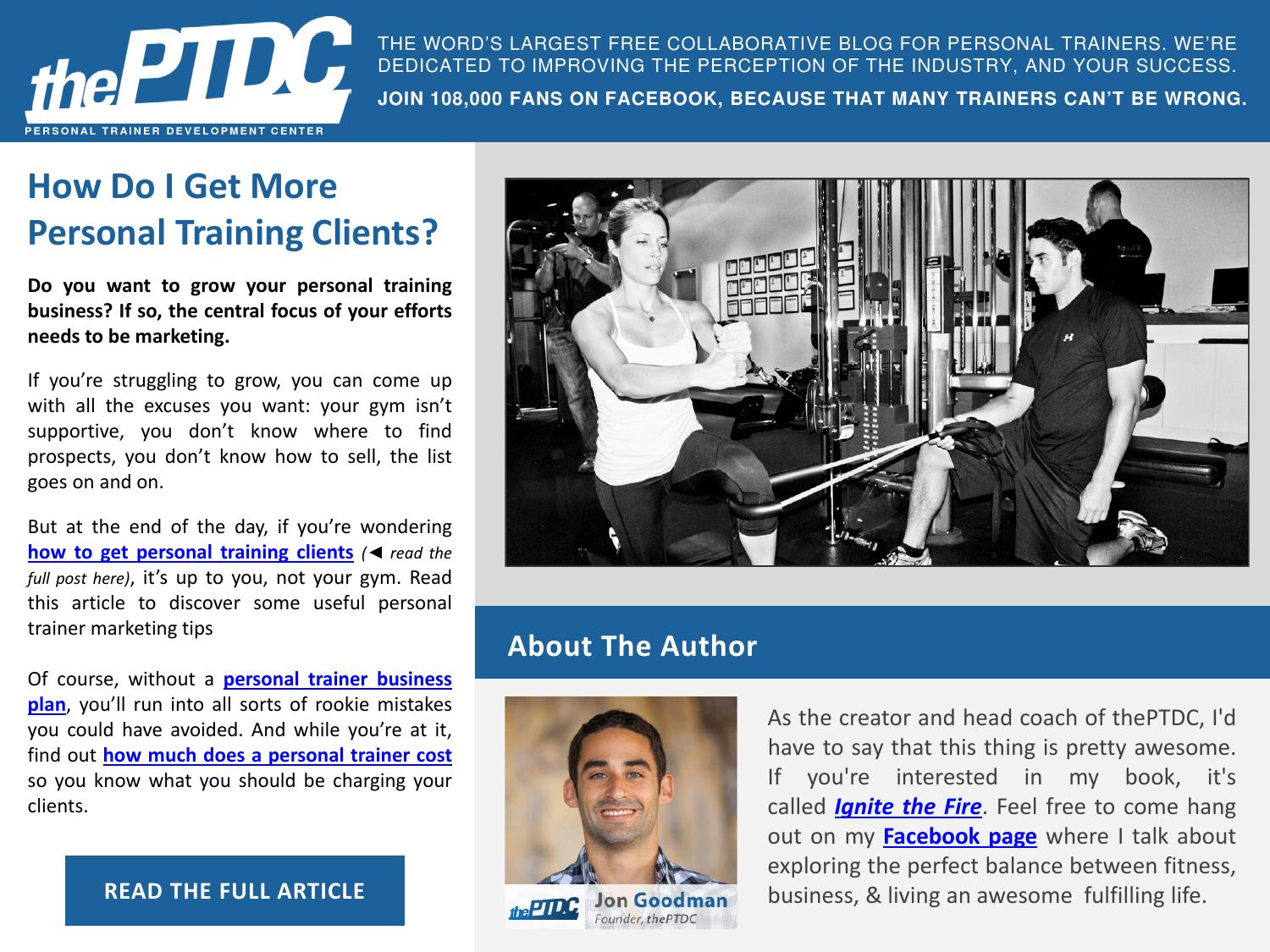 How Do I Get More Personal Training Clients By The Personal Trainer