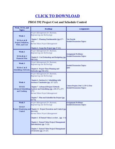 proj 592 project cost and schedule Proj 592 cost and schedule control  proj 592 course project part 1 devry  university, keller graduate school of management proj 592 - winter 2014.
