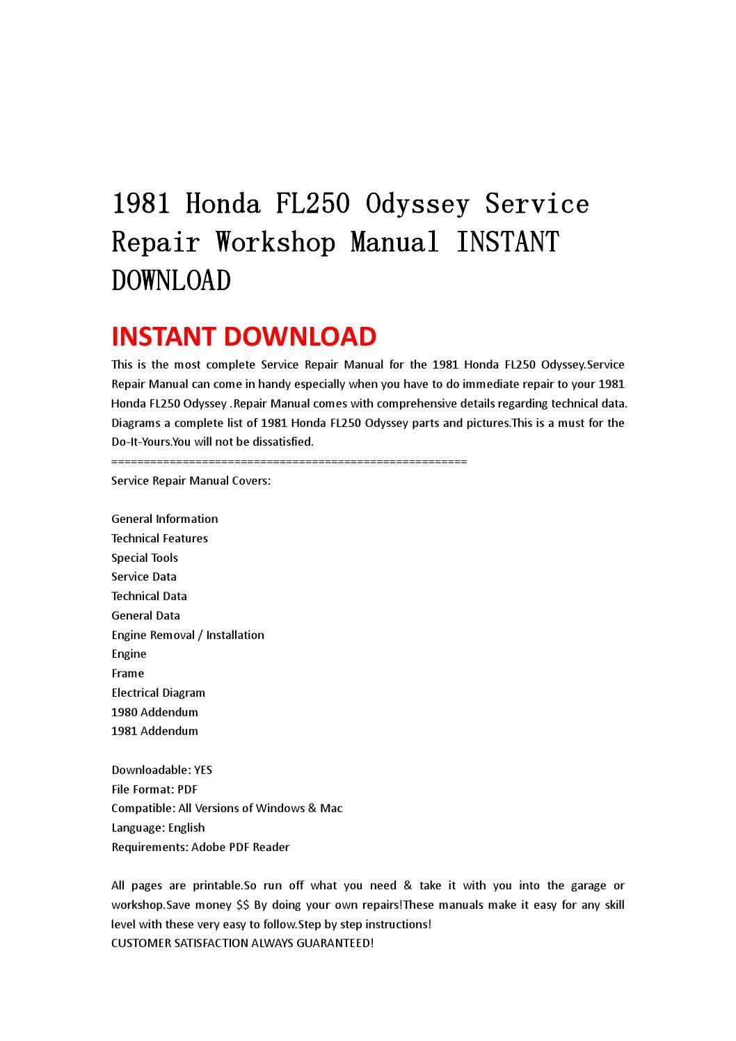 1981 Honda Fl250 Odyssey Service Repair Workshop Manual